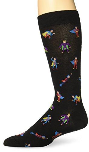 K. Bell Men's Fun Occupational Novelty Crew Socks, Super Heroes (Black), Shoe Size: 6-12