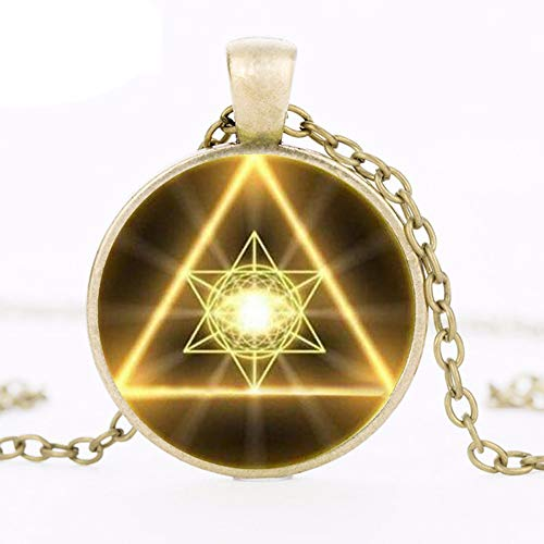 Gold Sacred Geometry Cabochon Glass Tibet Round Chain Pendant Necklace