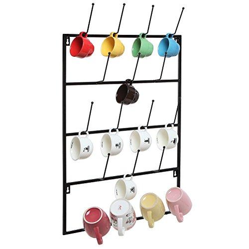 5 Tier Black Metal Wall Mounted Kitchen Mug Hook Display / Cup Storage Organizer Hanger Rack - MyGift