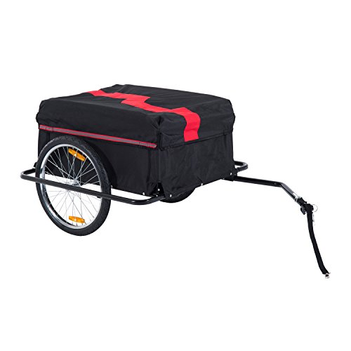 HOMCOM Two-Wheel Bicycle Large Cargo Wagon Trailer Oxford Fabric, Folding Storage, & Removable Cover, Red&Black