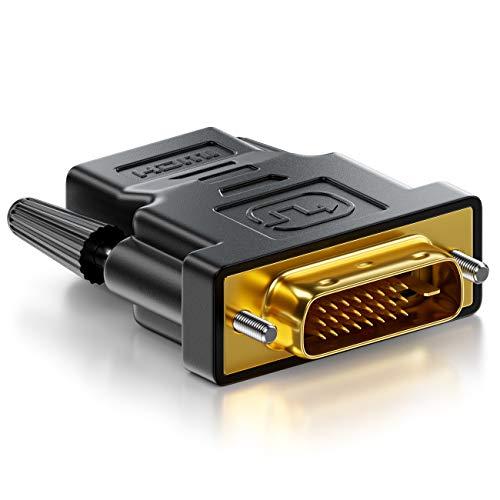 deleyCON Adaptateur HDMI-DVI - HDMI Femelle vers Connecteur DVI-D Mâle (24+1) (19pol) 1080p Full HD 1920x1200 - Noir