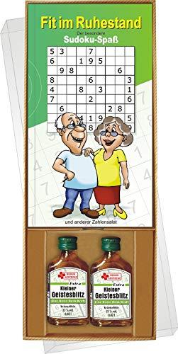 AV Andrea Verlag Fit im Ruhestand der besondere Sudoku Rätzel Spaß Geschenke Set Box mit Kräuterlikör Kleiner Geistesblitz Rentner Power Senioren Freizeit Oma Opa