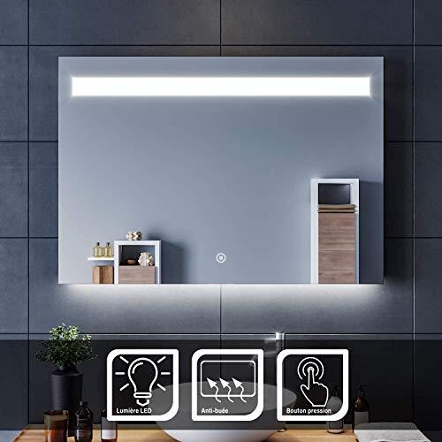 SIRHONA Espejo de Baño 100x70cm Espejo de Pared con Iluminación Luz LED Espejo de Luz de Baño con Interruptor Táctil,Espejos Pared con la Función-Antiniebla
