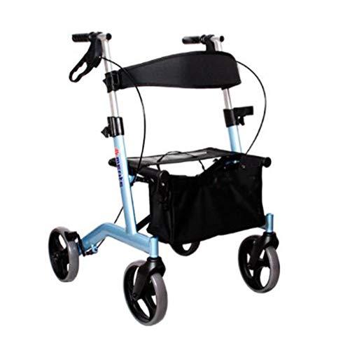 Antriebshilfen 4 Räder Faltbar, Rollator Walker Mit Doppelbremssystem, Medizinischer Rollator Höhenverstellbar Zum Gehen Für Senioren,Blau