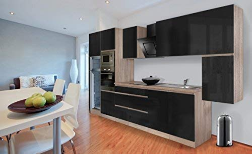 Respekta Premium griploze kitchenette keuken 385 cm eiken ruw gezaagd replica zwart hoogglans incl. softclos/koel-vriescombinatie 144 cm & keramische kookplaat