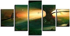 Les Toiles de Wall Art déco 5 Morceaux forêt Magique Arbres Owl Images Empreintes Abstract Affiche Salle modulaire de la Vie