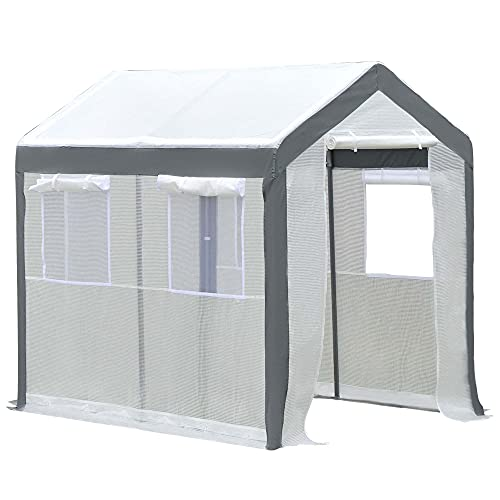 Outsunny 6' L x 8' W x 7' H Outdoor Walk-in Tunnel Greenhouse with Roll-up Windows, 2 Zippered Doors, & Weather Cover