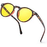ELIVWR Gafas de Conducción Nocturna Para Hombres Mujeres Gafas de Visión Nocturna Redondas con Estilo Retro Protección 100% UV (Marco de Tortuga/Lente Amarilla Polarizada)