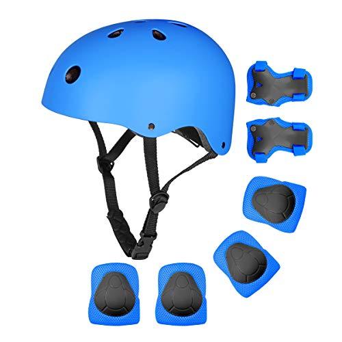 bigzzia Kinder-Fahrradhelm-Schutzausrüstung, Kleinkinder, Verstellbarer Skateboard-Helm, CE-Zertifiziert, Knieschützer und Ellenbogenschützer für Kinder, BMX, Skateboard, Roller, Radfahren (Blue)