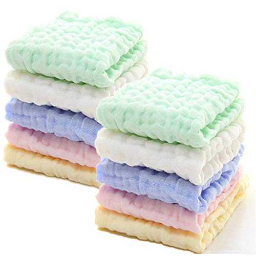 Baby Muslin Washcloths - Natural Muslin Cotton Baby Wipes - Soft Newborn Baby Face Towel for Sensitive Skin- Baby Registry as Shower Gift, 10 Pack 12x12 inches by MUKIN (Multicolored)