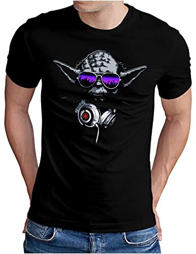 OM3® DJ-YODA T-Shirt   Herren   Deejay Headphones Party Club Music Turntables   Schwarz, L