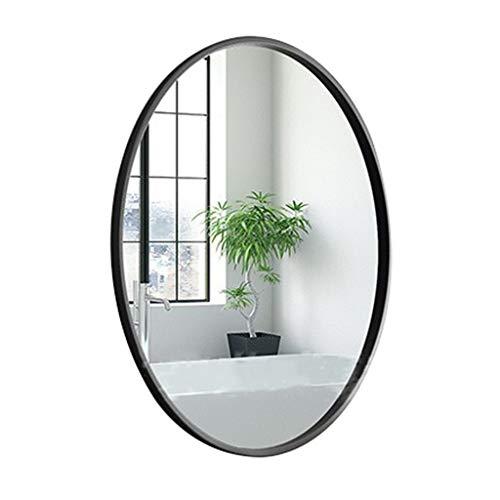 QDY-Wall-Mounted Vanity Mirrors Espejo de Pared Ovalado con Marco de Metal Negro, Espejo de Afeitado para entradas, Salones, baño, decoración de Espejos para el hogar