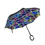 Escamas de sirena arco iris paraguas invertidos reversibles para las mujeres para hombre de viaje in...