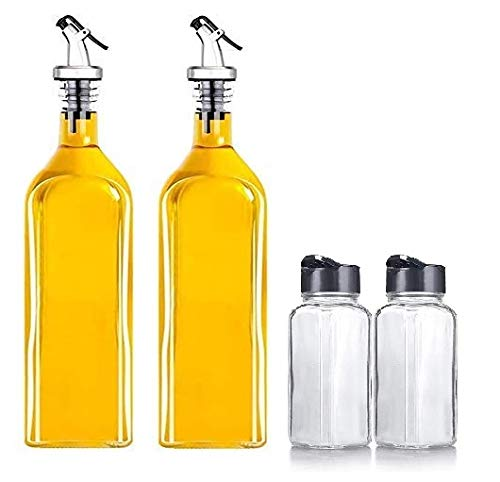 CPENSUS Glass Oil Dispenser With Spice Jars - 1000ml, Pack of 4, Clear