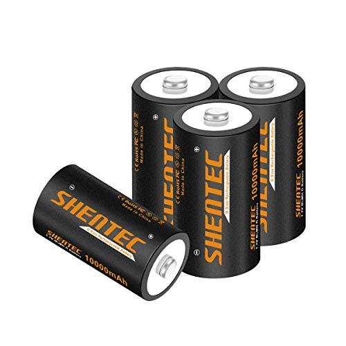 4 Stück Shentec D Akku 10000mAh Mono D Wiederaufladbar Batterien Ni-MH 1.2V D Aufladbare Akkubatterien mit Geringer Selbstentladung & Lange Lebensdauer