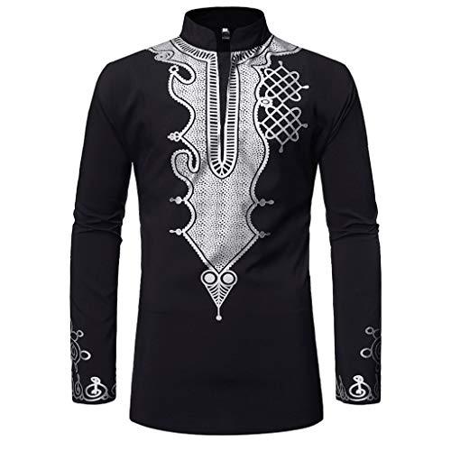 DNOQN Coole Shirts Herren Langarmshirt Männer Vintage Langarm Bluse African Drucken Gedruckt Stehkragen T-Shirt Top Bluse L
