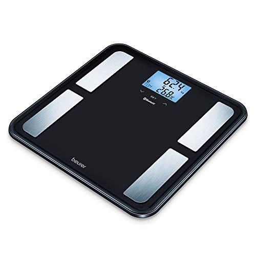 Beurer BF 850 Diagnosewaage schwarz, extra große Trittfläche, Messung von Körperfett, Körperwasser, Muskelanteil und Knochenmasse, Kalorienbedarf AMR/BMR, BMI, mit App, zertifizierter Datenschutz