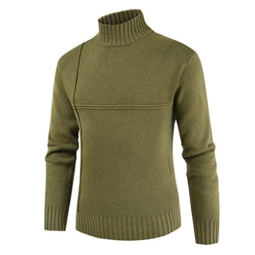 Jersey para Hombre, suéter de Cuello Alto, Fino, Delgado, de Manga Larga, Tejido en Cable, Informal, Suelto, cómodo, de Gran tamaño XXL