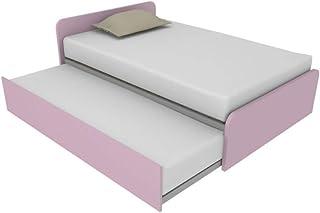 864R Lit 120 x 190 cm avec deuxième lit gigogne indépendant et relevable pour former un lit double, sommiers inclus, têtes...
