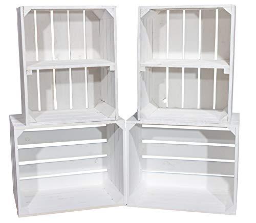 Vinterior DIY Set (4 Kisten) Gemischtes Paket Weiße Holzkisten-Weinkisten/Regal aus weißem Obstkisten mit Zwischenboden -quer-