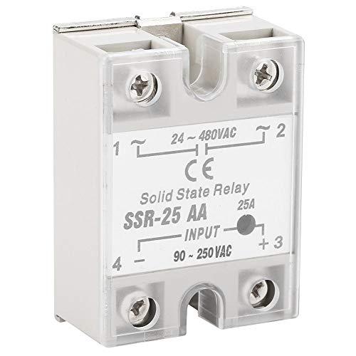 Solid State Relay-SSR-25 AA 25A Módulo de relé de estado sólido SSR AC-AC Entrada 90-250V AC Salida 24-480V AC