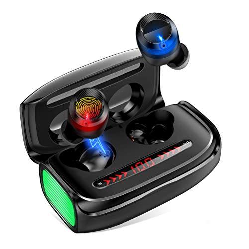 Auriculares Bluetooth, Estéreo de Alta Definición Bluetooth 5.0, Auriculares con Micrófono de Alta Definición Dual Integrados de Solo 5,5 Gramos, Conexión de 10 Metros Caja de Carga de 3000 mAh
