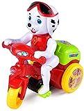 FANPING Desarmar juguetes, perrito lindo Spinning truco de la motocicleta de juguete Triciclo de juguete for niños pequeños con Auto Turismo, Estéreo giratorios Dobles ruedas de colores luz y música d