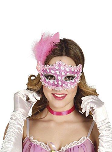 Guirca 12713 Domino Masque de Luxe avec Plumes et Broderies Rose/Blanc pour Adulte