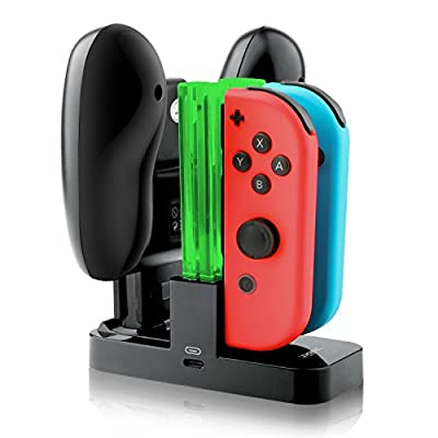 IVSO Nintendo Switch Joy-Con Charging Dock Compact Joy-Con & Pro Controller Charge Stand with TYPE-C Charging Port + Electric Light for Nintendo Switch ( Black )