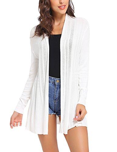 Sykooria Damen Cardigan Langarm Einfarbig Lustig Lang Strickjacke Langarmshirt mit Leichter, Weiß, XL