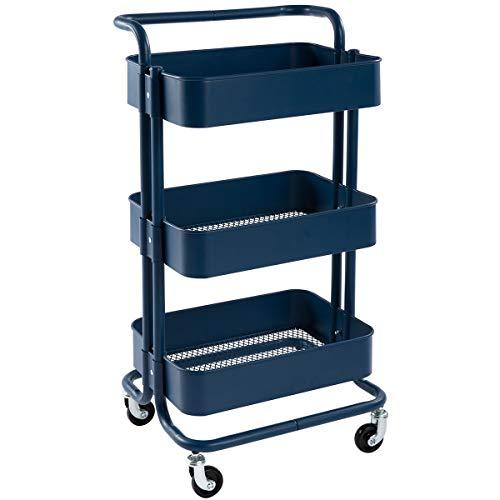 DOEWORKS Storage Cart 3 Tier Metal Utility Cart Rolling Organizer Cart with Wheels Art Cart Navy Blue