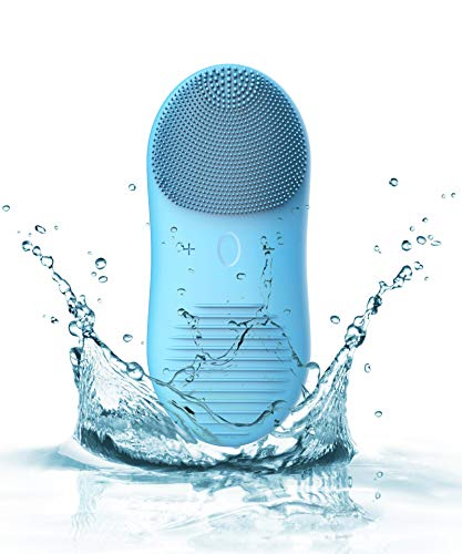 Sonic Facial Cleansing Brush-Silicone Face Scrubber Brush & Massager for Men-Women-Teens, Exfoliating Brush for All Skin Type, 12 Speeds, Wireless Charger USB Rechargeable Smart Timer IPX7 Waterproof