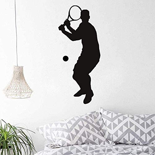 Wall Stickers,Christmas, repositionable, Vinyl, Multicolor Creative Bedroom Offer Wall Sport Tennis Player Front Swing Hit Score Tennis Gym Sport Art Decals for Teens Home Decoration 38X88Cm