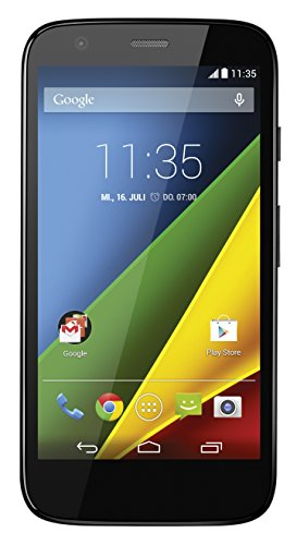 Motorola Moto G Smartphone (11,4 cm (4,5 Zoll) HD-Bildschirm, 5 Megapixel Kamera, 1,2 GHz Quad-Core-Prozessor, 4G LTE, 1GB RAM, 8 GB interner Speicher, Micro-SIM-Steckplatz, Android 4.4.3 Kitkat OS) schwarz