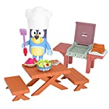 Bluey's dad Bandit is ready for a cook out! Help him grill a delicious meal on the BBQ with the Backyard Mini Playset. There is so much in the Backyard Mini Playset including 2 Benches, 1 Picnic Table, a BBQ and 3 Toy Food Pieces. Bluey's Dad (Bandit...