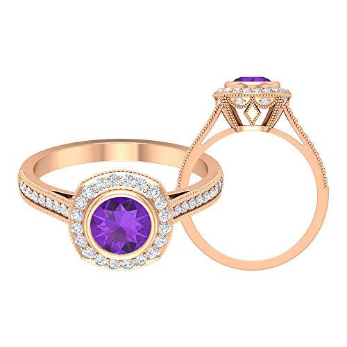 Anillo solitario de amatista de 6,00 mm, anillo de halo de diamante HI-SI, anillo de compromiso de piedra lateral, anillo de compromiso, bisel de oro (calidad AAA), 14K Oro rosa, Size:EU 63