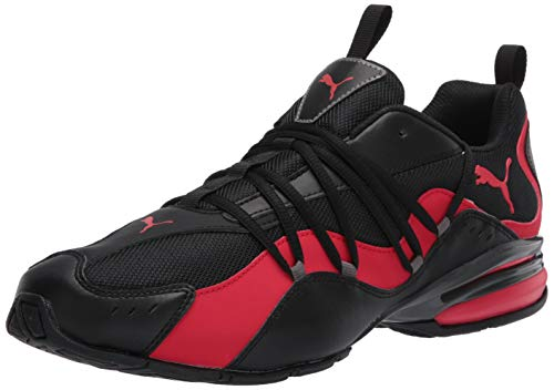 PUMA Men's SILVERION Sneaker, Black-High Risk Red-Castlerock, 9.5 M US