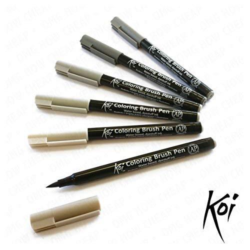 Sakura Koi - Mezclable Basado en Agua Cepillo Bolígrafos - Plástico Cartera de 6 - Gris Juego