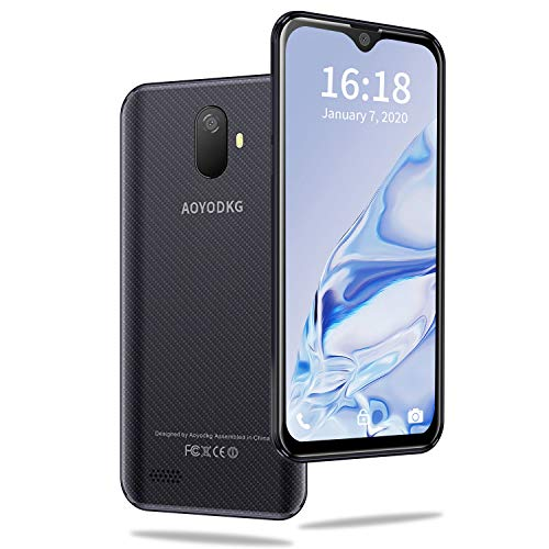 AOYODKG Smartphone ohne Vertrag Günstig - Waterdrop 5,5 Zoll Android 9.0 (Go) Handy 3GB + 32GB, 4G DUAL SIM Handy, Quad-Core 5MP + 8MP Dual Rückkamera, GPS, Global Version, Schwarz