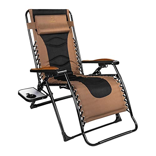 Zero Gravity Chair Oversized 228#039#039 W Padded Seat amp Free Reclining Angle with Lock Lounge Patio Chair with Contour Pillow and Side Cup Table Folding Recliner Support up to 350lbs Brown