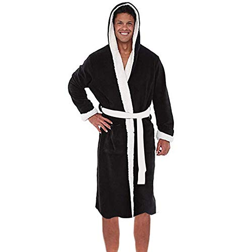 VJGOAL Albornoz con Capucha para Hombre Pijama de Invierno Túnica Alargada Talla Grande Pijama Casual Suave de Manga Larga Ropa de Dormir(L,Negro1)
