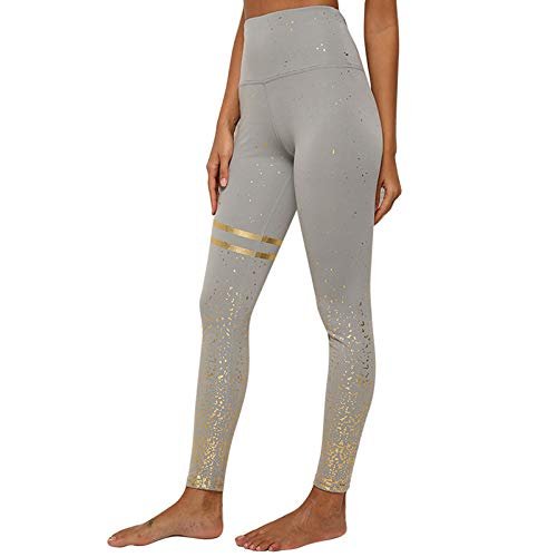 hjkg Leggings Srtriped Printed Grey Gym Yoga Fitness Entrenamiento De Cintura Alta Slim Casual Fashion Seamless Skinny Elastic Soft Jeggings Pant Medias Streetwear Women, X, Large