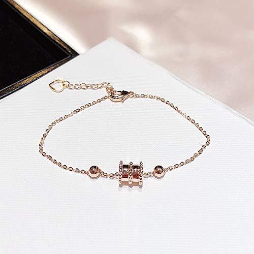 HJPAM Geometrische metalen kraal bedelarmband Rose goud kleur ketting armband voor vrouwen cadeau sieraden Link armbanden