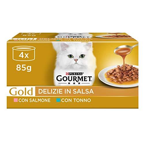 PURINA GOURMET GOLD Umido Gatto Delizie In Salsa con Salmone e Tonno - 48 lattine da 85g ciascuna (12 confezioni da 4x85g)
