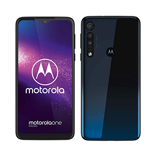 Motorola One Macro (6,2 Inch HD Plus Display, Macro Vision Camera, 64 GB/ 4 GB, Android 9.0, Dual SIM Smartphone), Space Blue