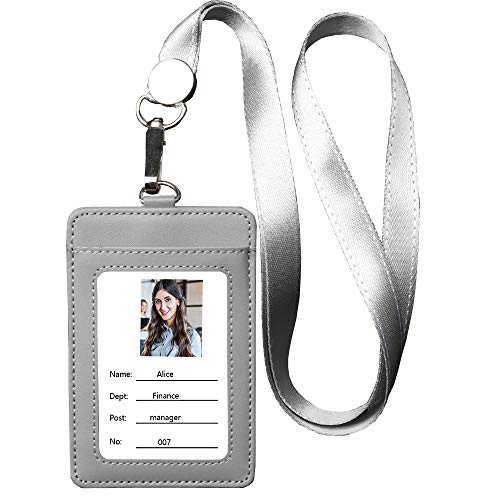 Leather ID Badge Holder, Vertical Genuine Leather ID Badge Holder with 1 Clear ID Window & 1 Credit Card Slot and a Detachable Neck Lanyard-Gray