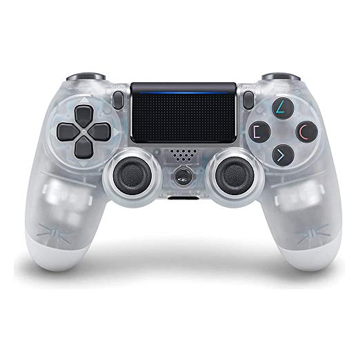 PS4 Game Controller, Playstation 4 Wireless Controller with Dual vibratory Joystick (Transparent White)