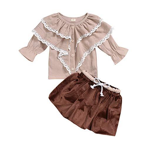Tianhaik Kinder Meisje Kleding Pak Bodemkraag Lange Mouw Shirt + Korte Fluwelen Rok voor Casual Party