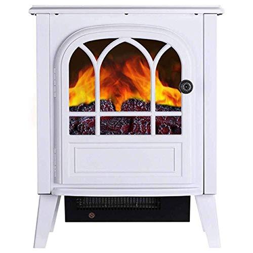 AWJ Chimenea eléctrica para estufa de fuego con efecto de llama de leña realista 3D y 2 ajustes de calor, calentador portátil de espacio libre, negro (blanco)