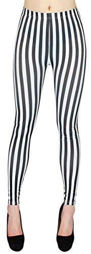 dy_mode Damen Leggings Schwarz Weiß gestreift Streifen Hose Damen Röhren Skinny - One Size - JL058 (JL058-SchwarzWeißSchmal)